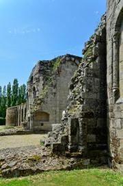 Absidioles de l'église abbatiale et mur Est de l'abbaye en arrière-plan