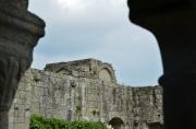 En premier plan, les galeries nord et est du cloître. Absidioles de l'église abbatiale en arrière-plan