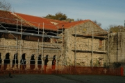 Galerie Ouest de l'abbaye pendant les travaux de restauration