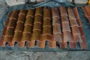 Échantillons du traitement de vieillissement artificiel appliqué à la toiture