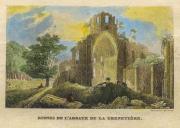 Gravure colorisée des ruines de l'église abbatiale de l'Abbaye de la Grainetiière