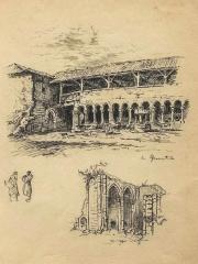 Gravure du cloître et des absidioles de l'Abbaye de la Grainetière