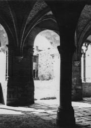 À l'intérieur de la salle capitulaire pendant sa restauration