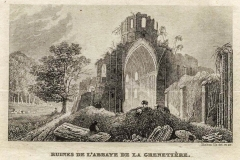 Gravure des ruines de l'église abbatiale de l'Abbaye de la Grainetiière
